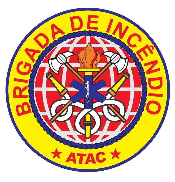 Logo da Brigada de Incêncdio, Circular amarelo com dizeres em vermelho e simpbolo da tocha e mangueiras de incêncdio